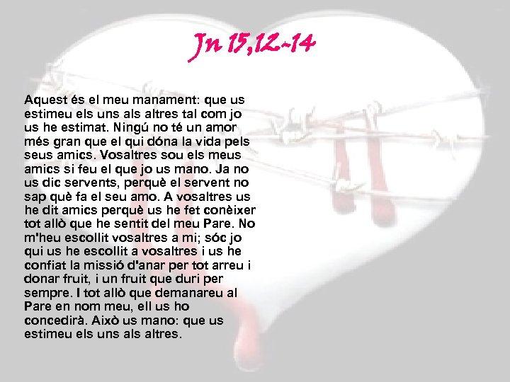 Jn 15, 12 -14 Aquest és el meu manament: que us estimeu els uns