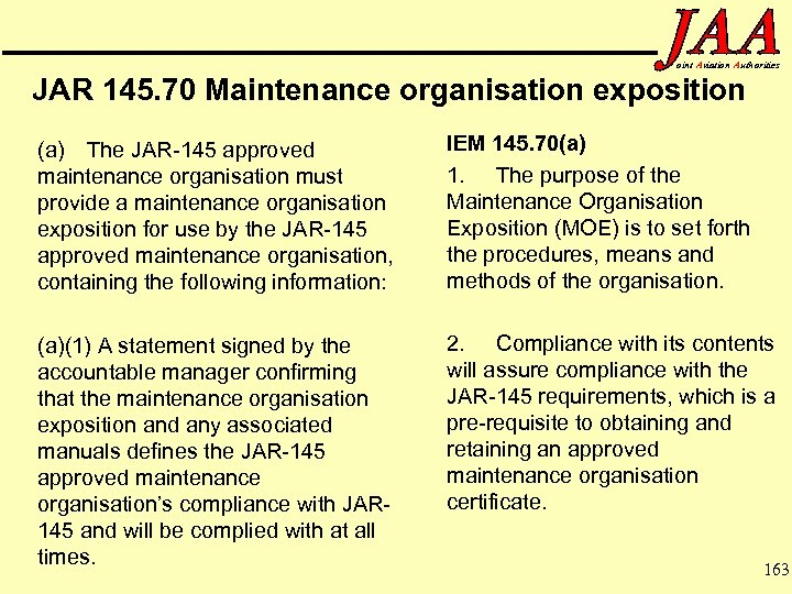 oint Aviation Authorities JAR 145. 70 Maintenance organisation exposition (a) The JAR-145 approved maintenance
