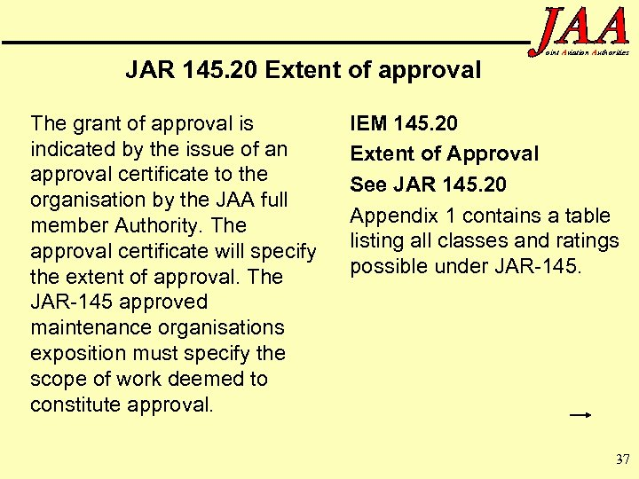 JAR 145. 20 Extent of approval The grant of approval is indicated by the