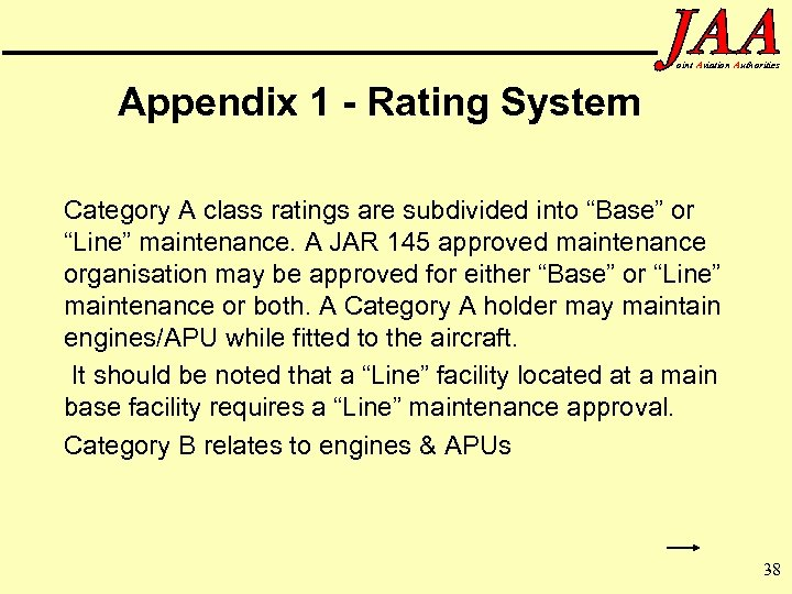 oint Aviation Authorities Appendix 1 - Rating System Category A class ratings are subdivided