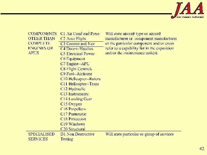 oint Aviation Authorities 42