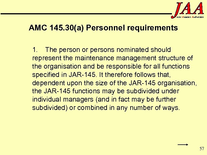 oint Aviation Authorities AMC 145. 30(a) Personnel requirements 1. The person or persons nominated