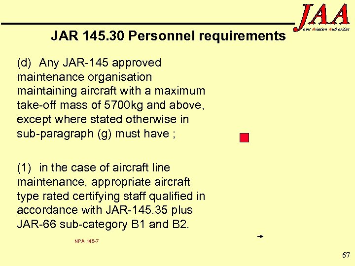 JAR 145. 30 Personnel requirements oint Aviation Authorities (d) Any JAR-145 approved maintenance organisation