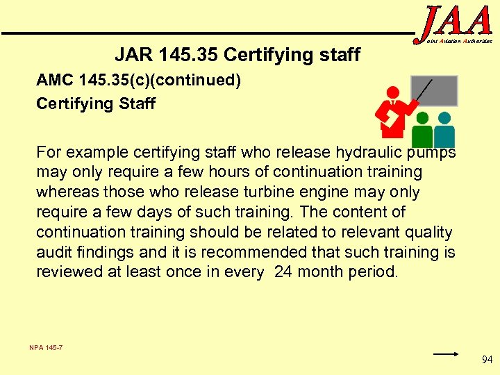 JAR 145. 35 Certifying staff oint Aviation Authorities AMC 145. 35(c)(continued) Certifying Staff For