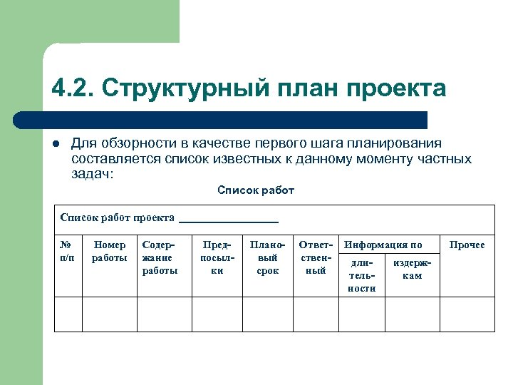 4. 2. Структурный план проекта l Для обзорности в качестве первого шага планирования составляется