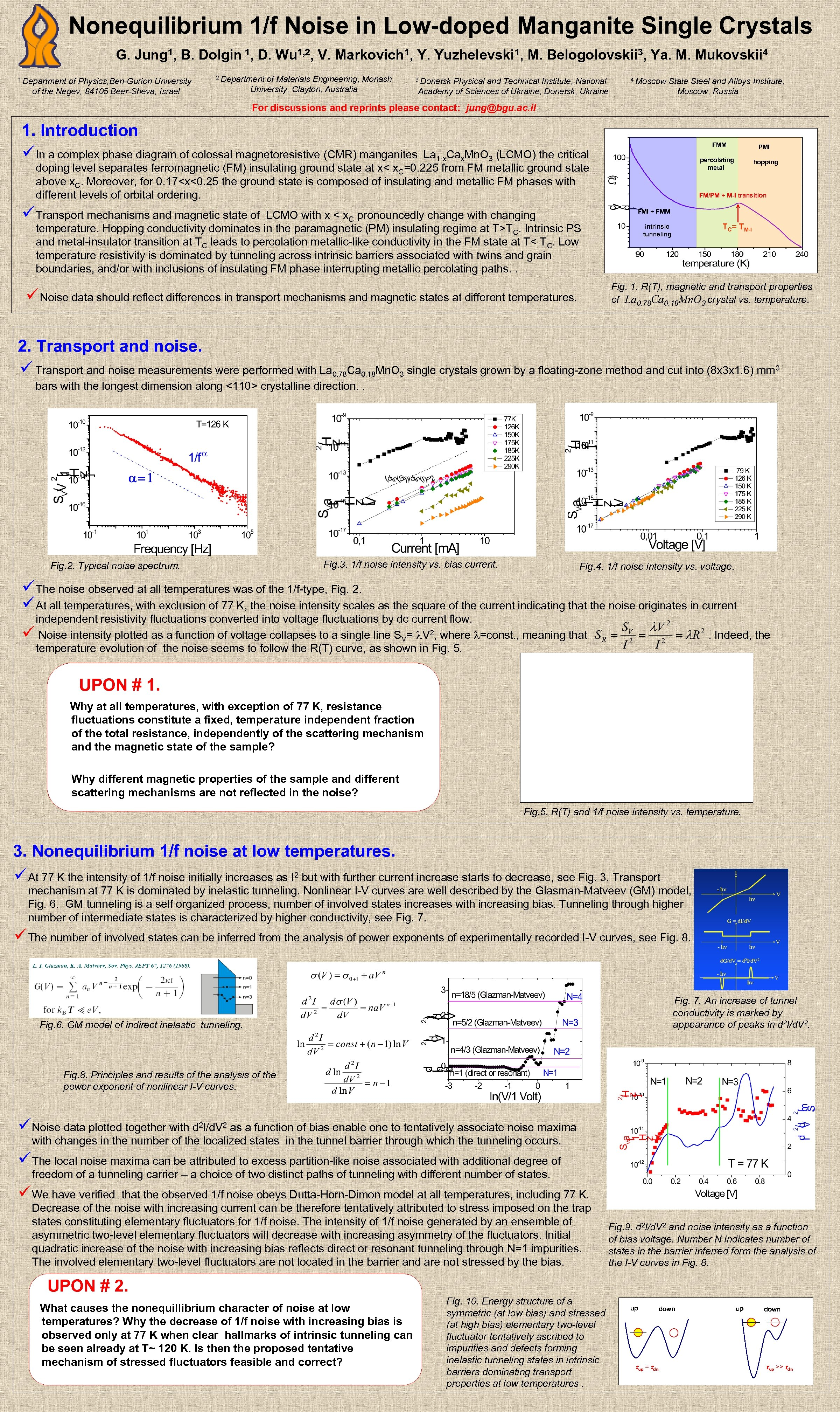Nonequilibrium 1/f Noise in Low-doped Manganite Single Crystals G. Jung 1, B. Dolgin 1,