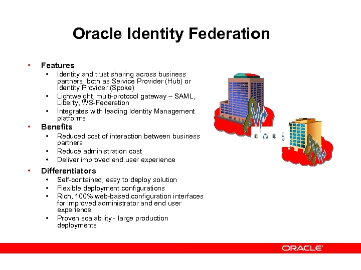 Oracle Identity Federation • Features • • Benefits • • Identity and trust sharing