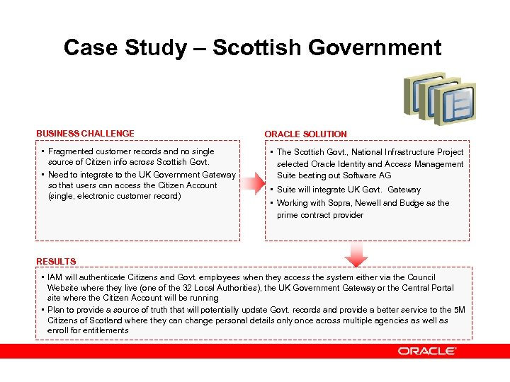 Case Study – Scottish Government BUSINESS CHALLENGE • Fragmented customer records and no single