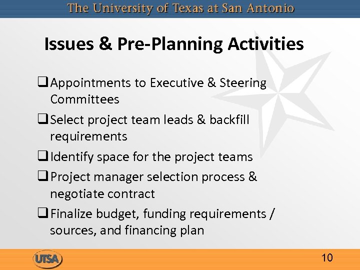 Issues & Pre-Planning Activities q Appointments to Executive & Steering Committees q Select project