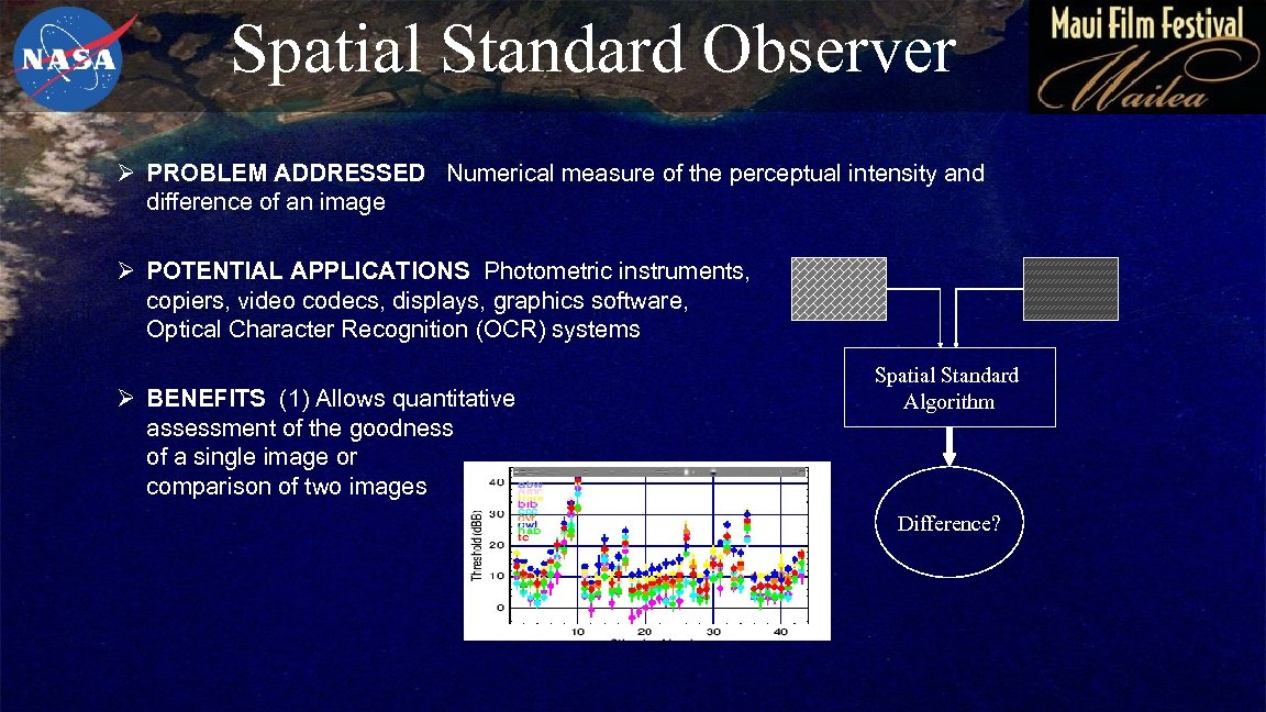 Spatial Standard Observer Ø PROBLEM ADDRESSED Numerical measure of the perceptual intensity and difference
