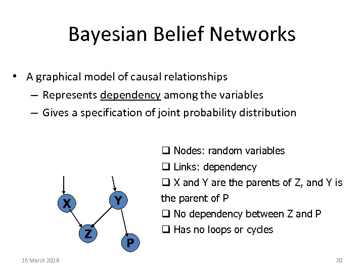 Bayesian Belief Networks • A graphical model of causal relationships – Represents dependency among