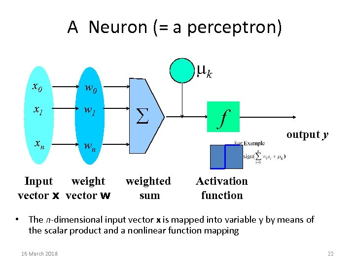 A Neuron (= a perceptron) x 0 w 0 x 1 w 1 -