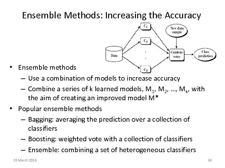 Ensemble Methods: Increasing the Accuracy • Ensemble methods – Use a combination of models