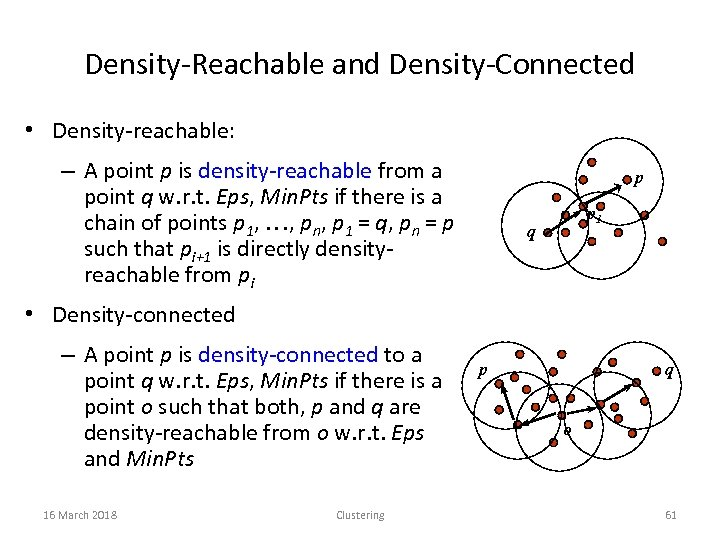 Density-Reachable and Density-Connected • Density-reachable: – A point p is density-reachable from a point