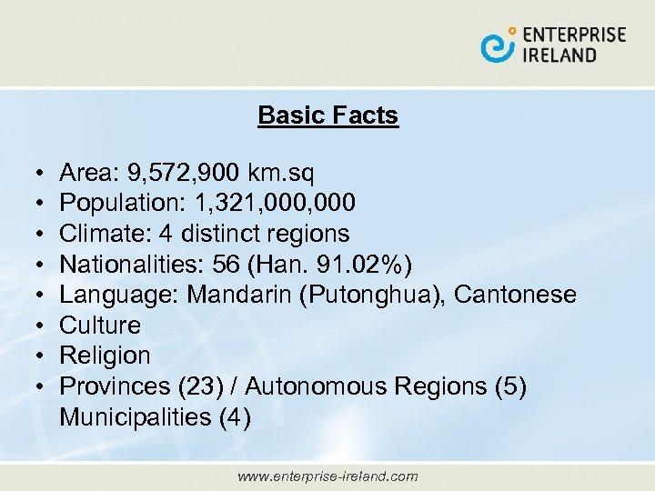 Basic Facts • • Area: 9, 572, 900 km. sq Population: 1, 321, 000