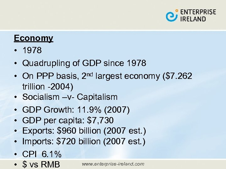 Economy • 1978 • Quadrupling of GDP since 1978 • On PPP basis, 2