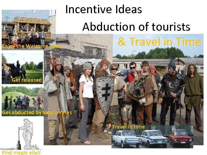 Incentive Ideas Abduction of tourists & Travel in Time Enjoy the Welcome party Get