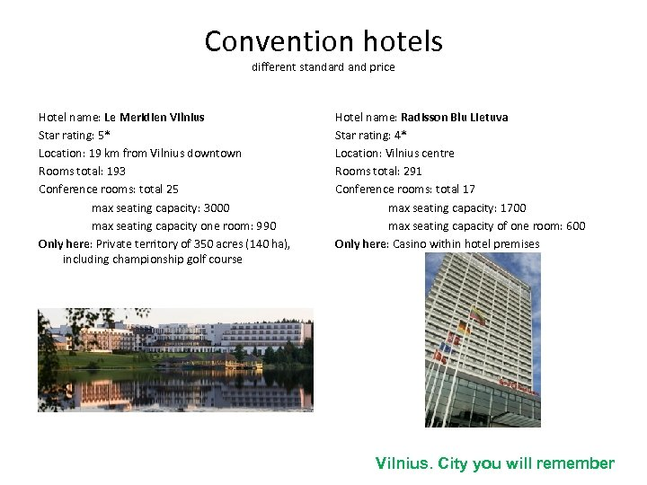Convention hotels different standard and price Hotel name: Le Meridien Vilnius Star rating: 5*