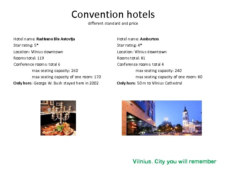 Convention hotels different standard and price Hotel name: Radisson Blu Astorija Star rating: 5*