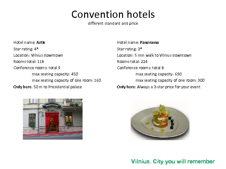 Convention hotels different standard and price Hotel name: Artis Star rating: 4* Location: Vilnius