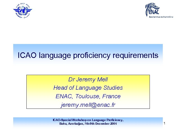 ICAO language proficiency requirements Dr Jeremy Mell Head of Language Studies ENAC, Toulouse, France