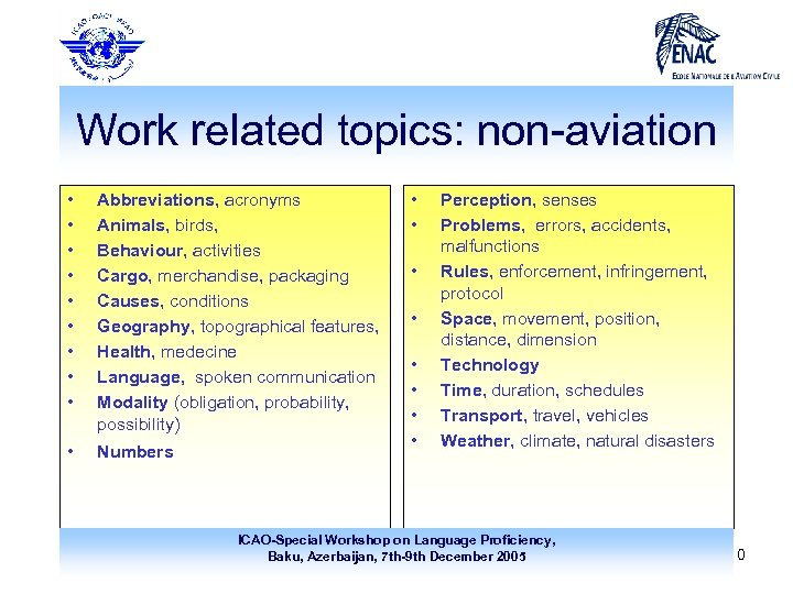 Work related topics: non-aviation • • • Abbreviations, acronyms Animals, birds, Behaviour, activities Cargo,