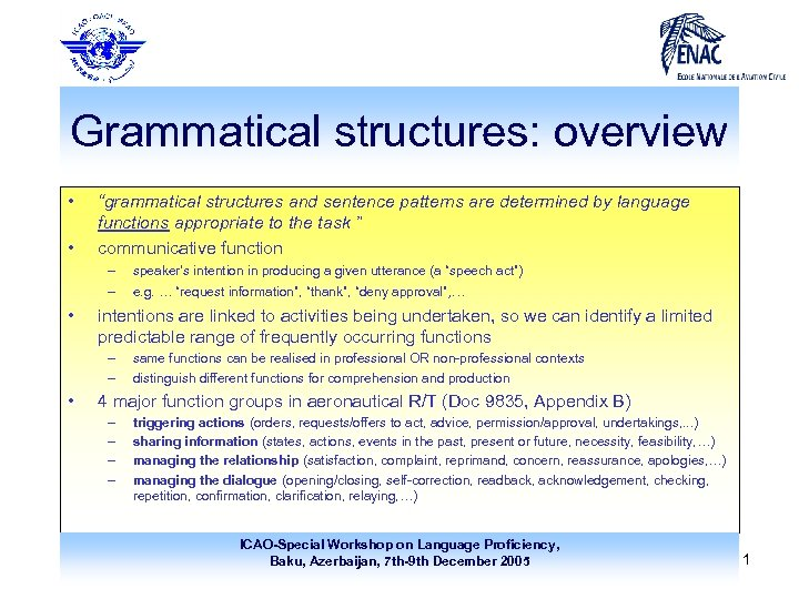 """Grammatical structures: overview • • """"grammatical structures and sentence patterns are determined by language"""