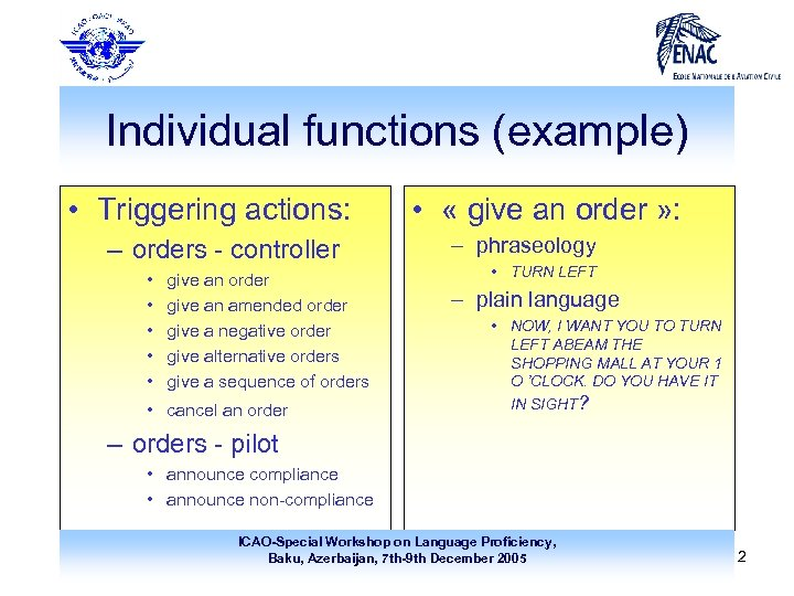 Individual functions (example) • Triggering actions: – orders - controller • • • give