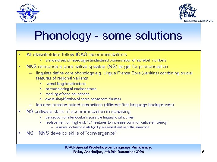 Phonology - some solutions • All stakeholders follow ICAO recommendations • • standardised phraseology/standardised