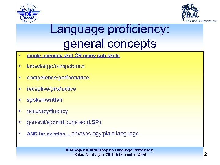 Language proficiency: general concepts • single complex skill OR many sub-skills • knowledge/competence •