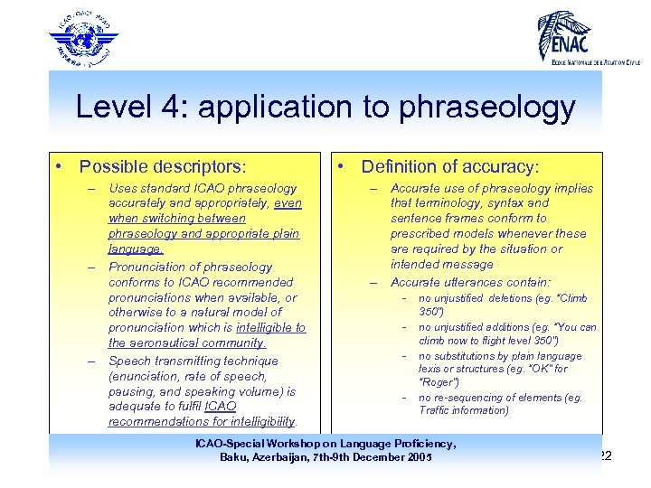 Level 4: application to phraseology • Possible descriptors: – Uses standard ICAO phraseology accurately
