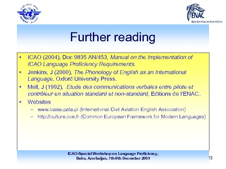Further reading • • ICAO (2004), Doc 9835 AN/453, Manual on the Implementation of
