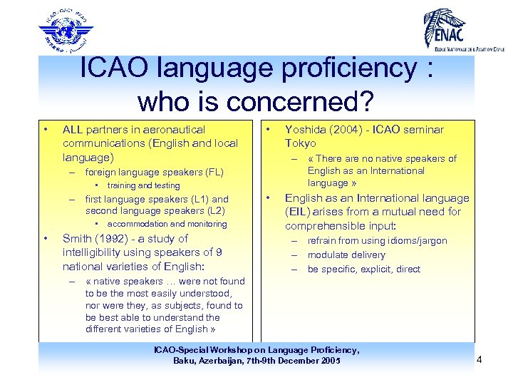 ICAO language proficiency : who is concerned? • ALL partners in aeronautical communications (English