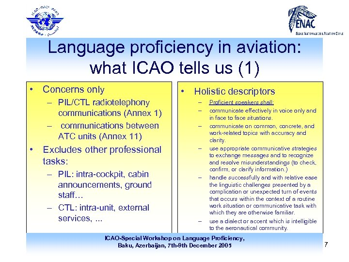 Language proficiency in aviation: what ICAO tells us (1) • Concerns only • Holistic