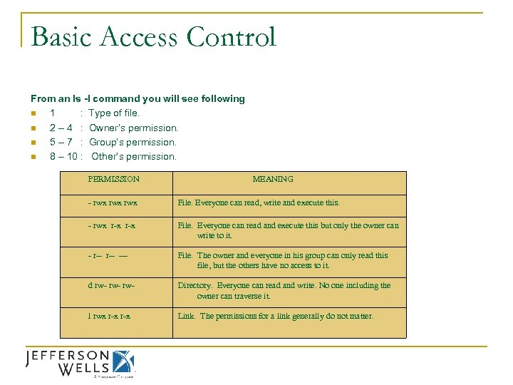 Basic Access Control From an ls -l command you will see following n 1