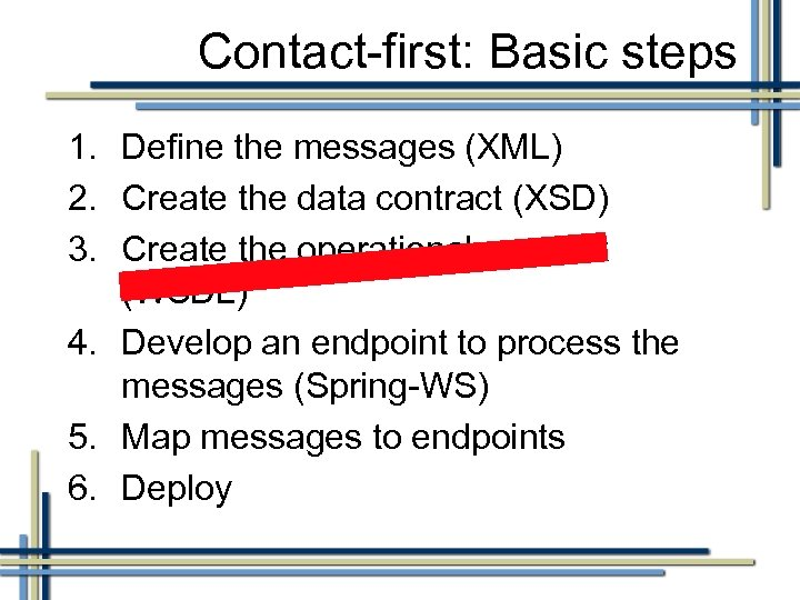Contact-first: Basic steps 1. Define the messages (XML) 2. Create the data contract (XSD)