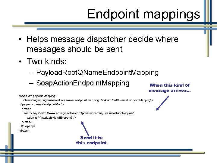Endpoint mappings • Helps message dispatcher decide where messages should be sent • Two