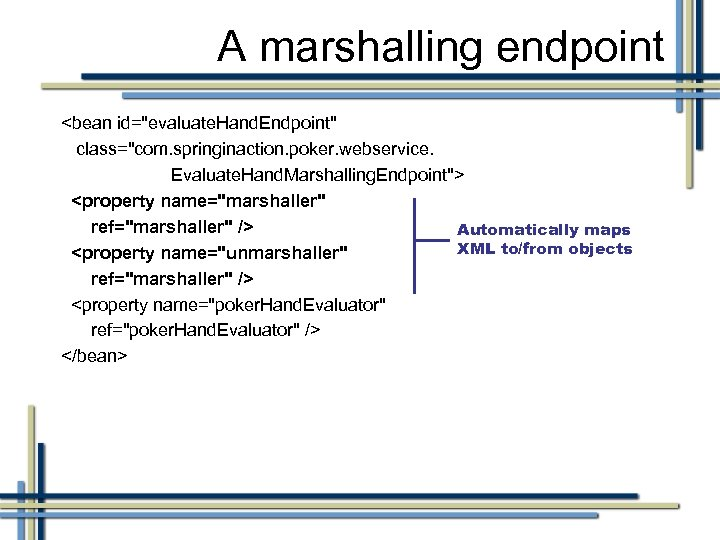 A marshalling endpoint <bean id=