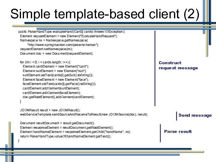 Simple template-based client (2) public Poker. Hand. Type evaluate. Hand(Card[] cards) throws IOException {