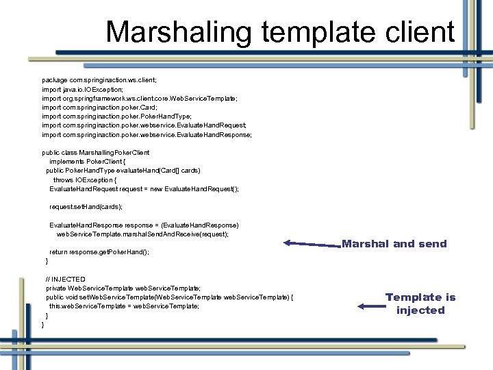Marshaling template client package com. springinaction. ws. client; import java. io. IOException; import org.