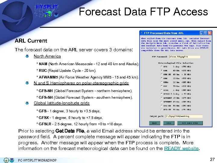 Forecast Data FTP Access ARL Current The forecast data on the ARL server covers