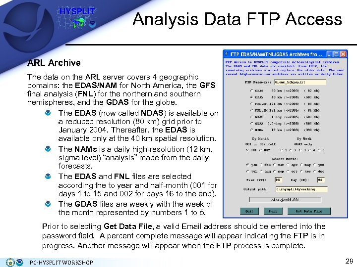 Analysis Data FTP Access ARL Archive The data on the ARL server covers 4