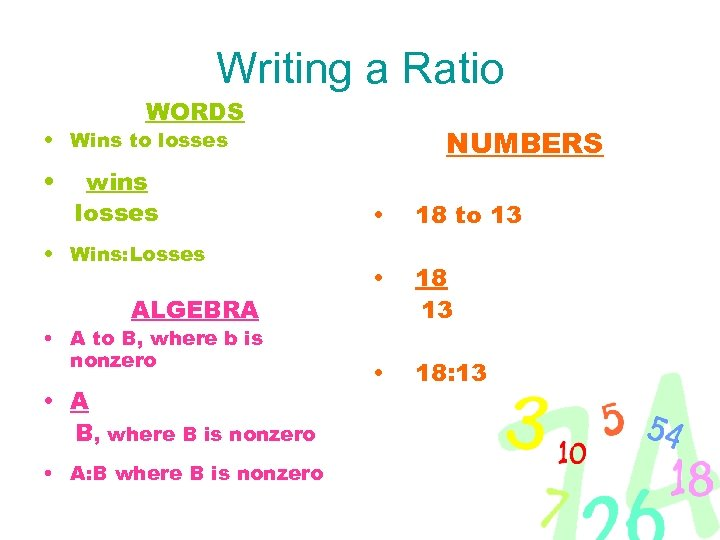 Writing a Ratio WORDS NUMBERS • Wins to losses • wins losses • Wins: