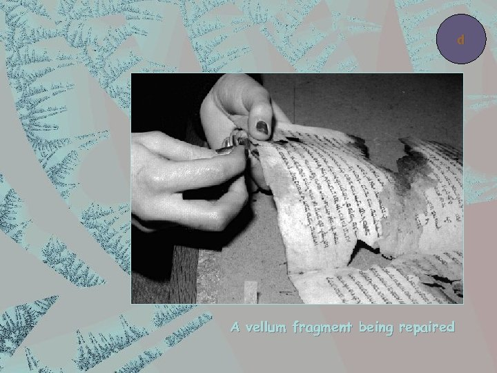 d A vellum fragment being repaired
