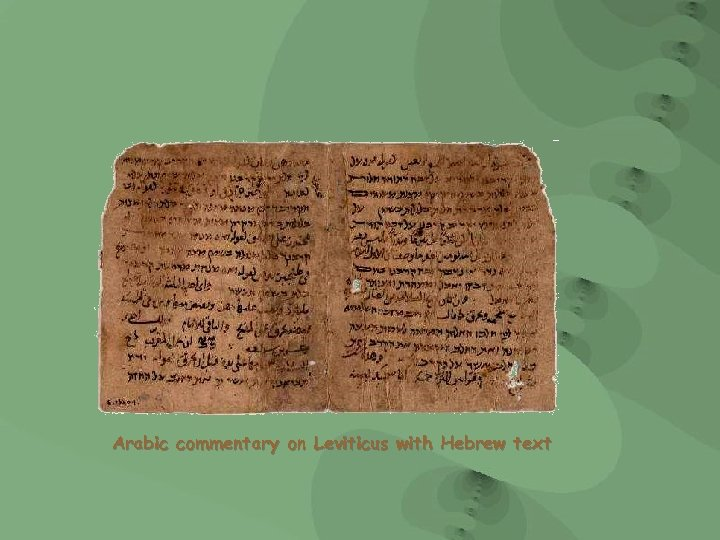 Arabic commentary on Leviticus with Hebrew text