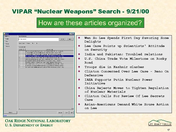 "VIPAR ""Nuclear Weapons"" Search - 9/21/00 How are these articles organized? l l l"