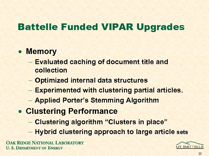 Battelle Funded VIPAR Upgrades · Memory - Evaluated caching of document title and collection