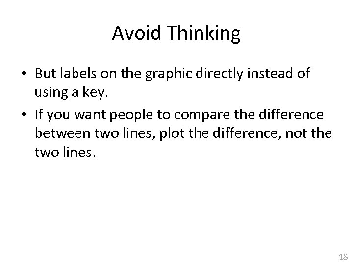 Avoid Thinking • But labels on the graphic directly instead of using a key.