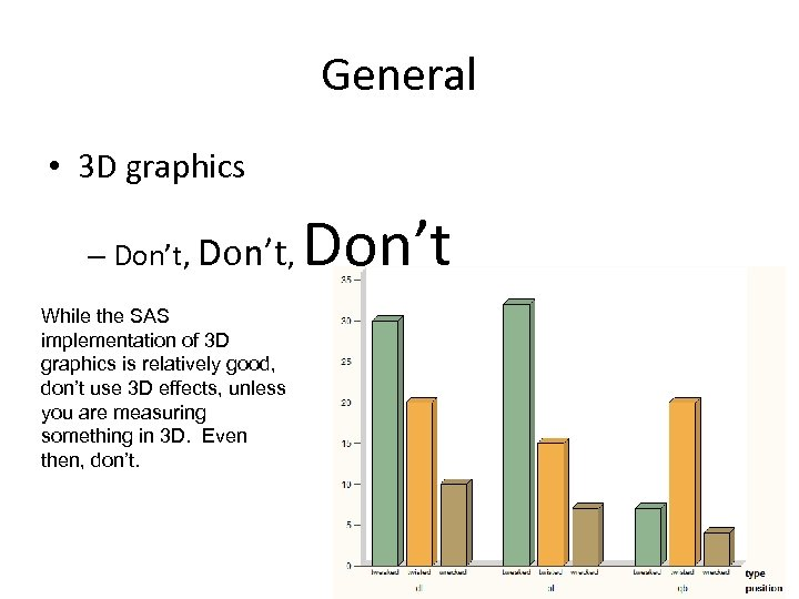 General • 3 D graphics – Don't, Don't While the SAS implementation of 3