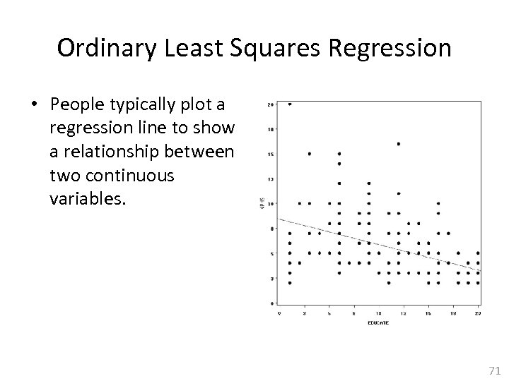 Ordinary Least Squares Regression • People typically plot a regression line to show a